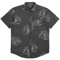 Brixton Charter Print Woven Shirt - Washed Black