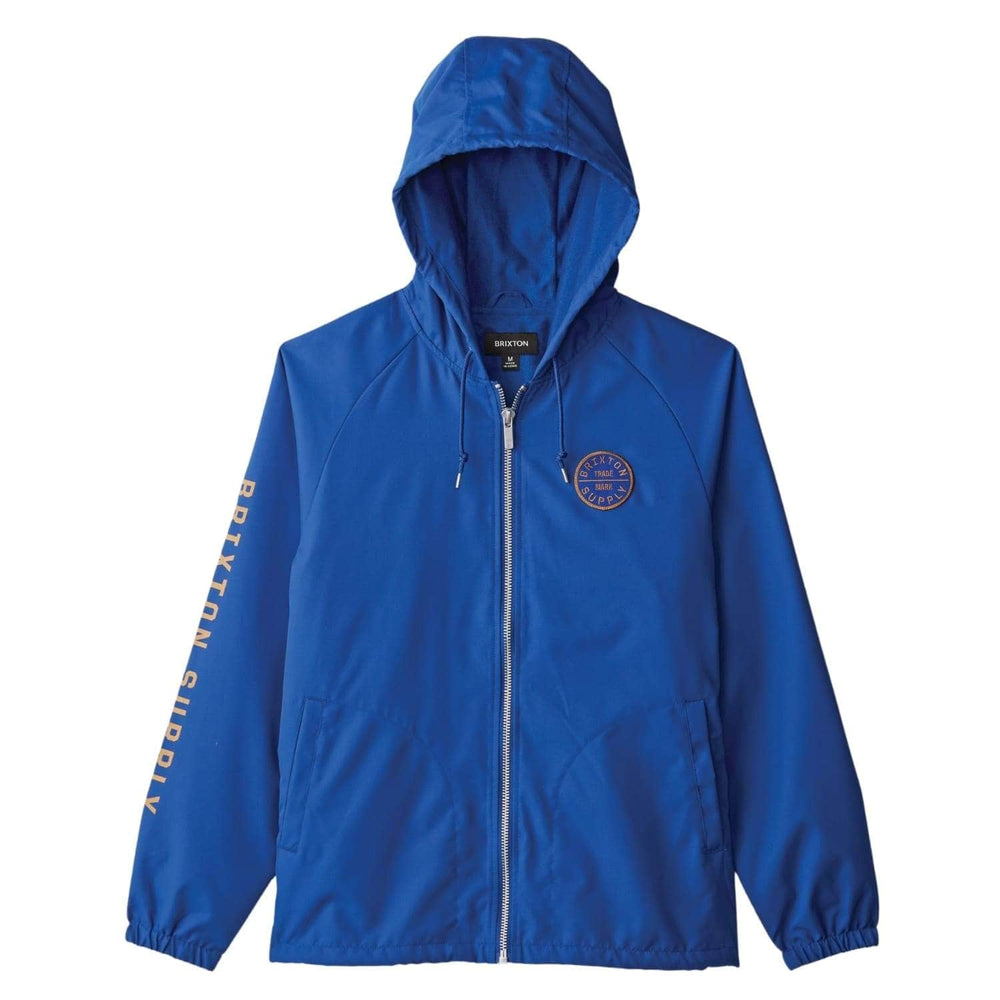 Brixton Claxton Oath Zip Hood Jacket Mineral Blue - Mens Windbreaker/Rain Jacket by Brixton