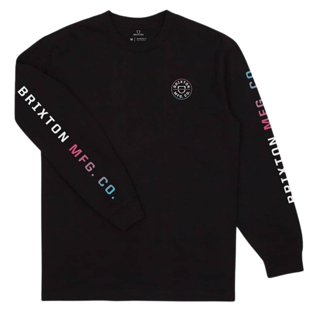 Brixton Crest L/S T-Shirt - Black/Light Blue/Pink
