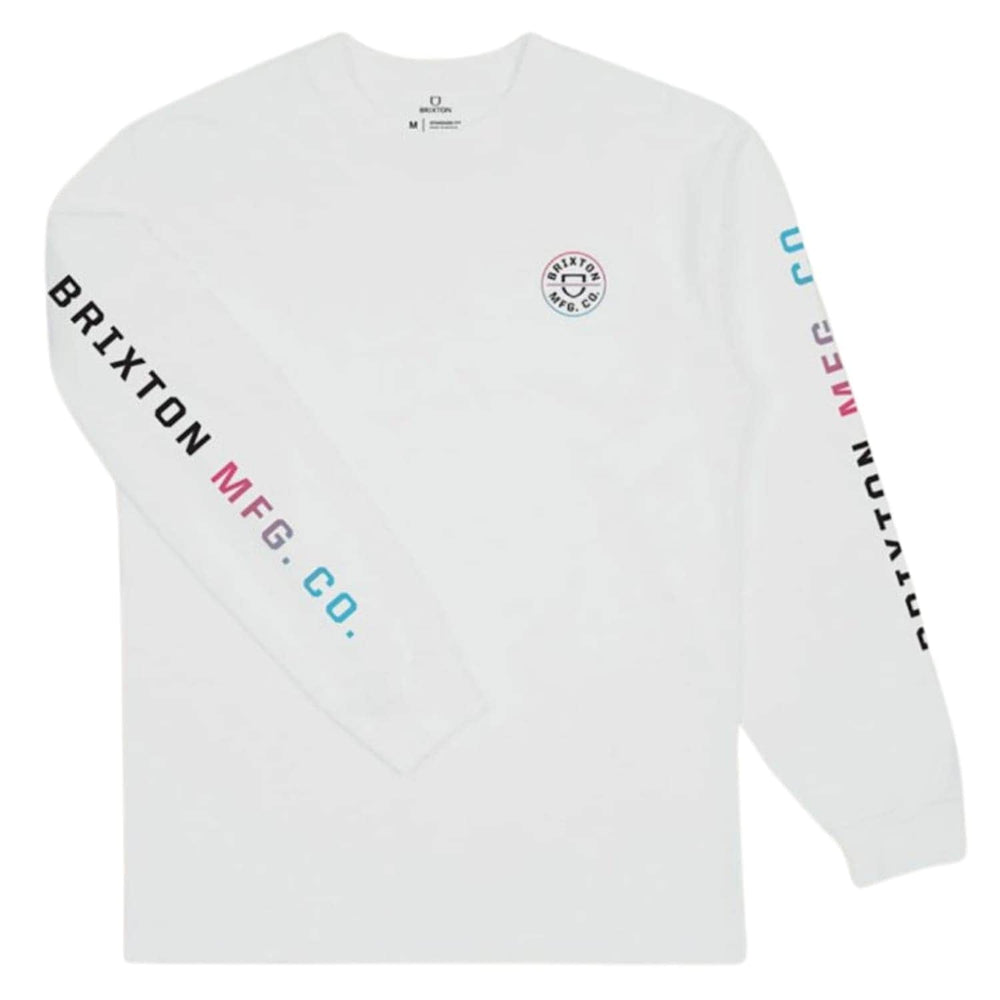 Brixton Crest L/S T-Shirt - White/Light Blue/Pink