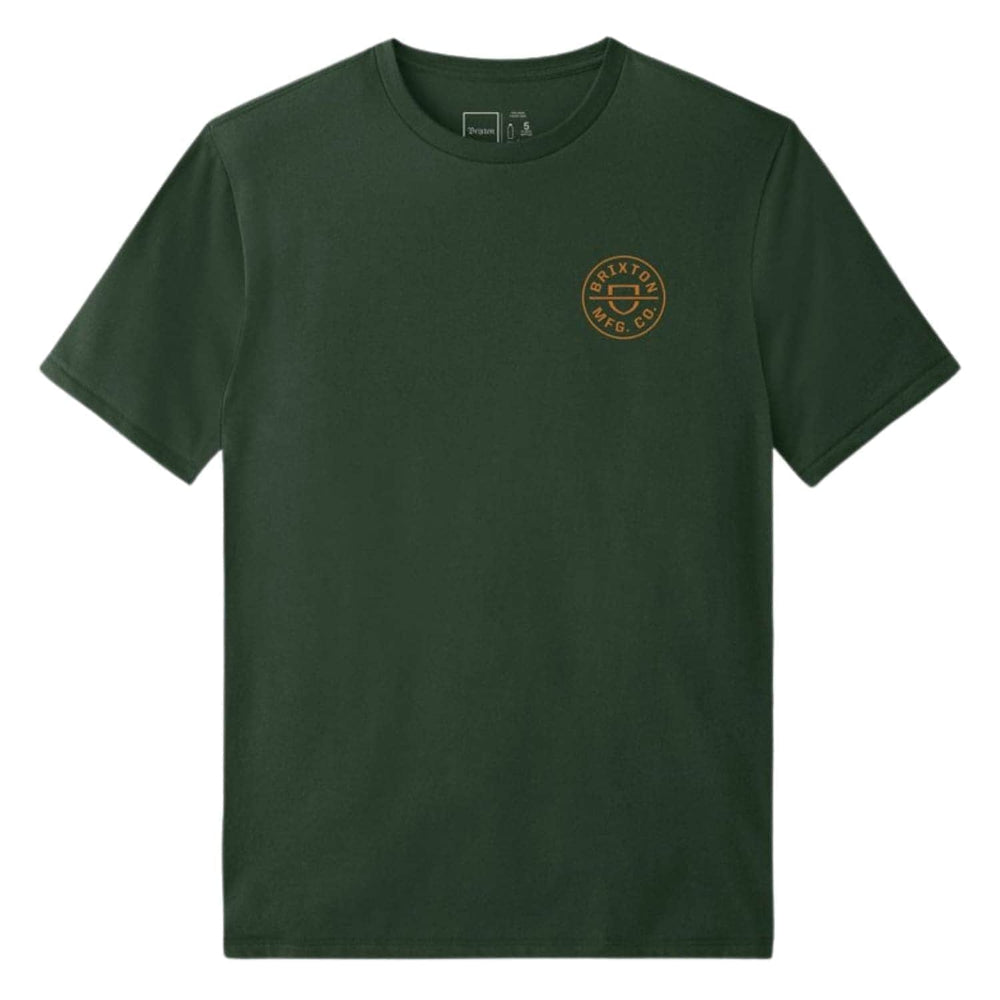 Brixton Crest X T-Shirt Hunter Green - Mens Graphic T-Shirt by Brixton