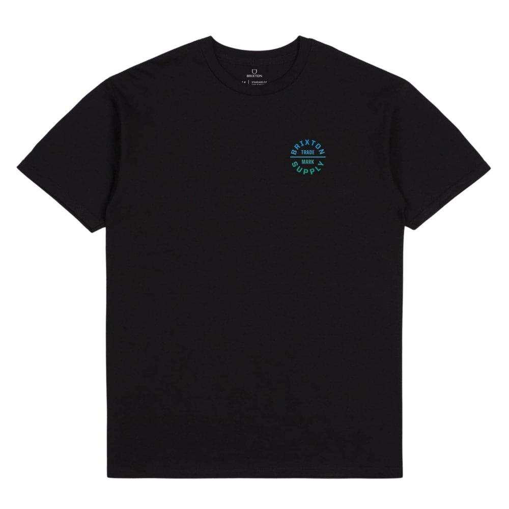 Brixton Oath V T-Shirt Black/Gradient - Mens Plain T-Shirt by Brixton