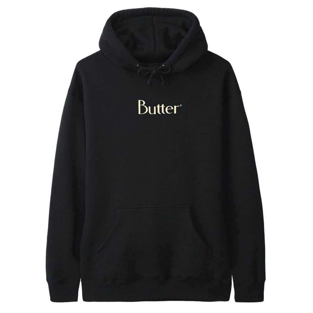 Butter Goods Classic Logo Pullover Hood Black - Mens Pullover Hoodie by Butter Goods