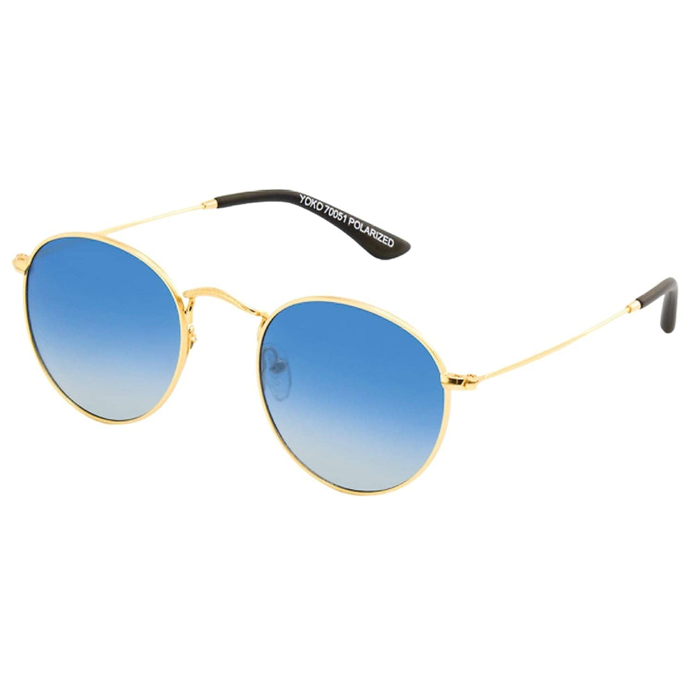 Carve Yoko Polarized Sunglasses Gold Blue Polarized N/A - Round Sunglasses by Carve