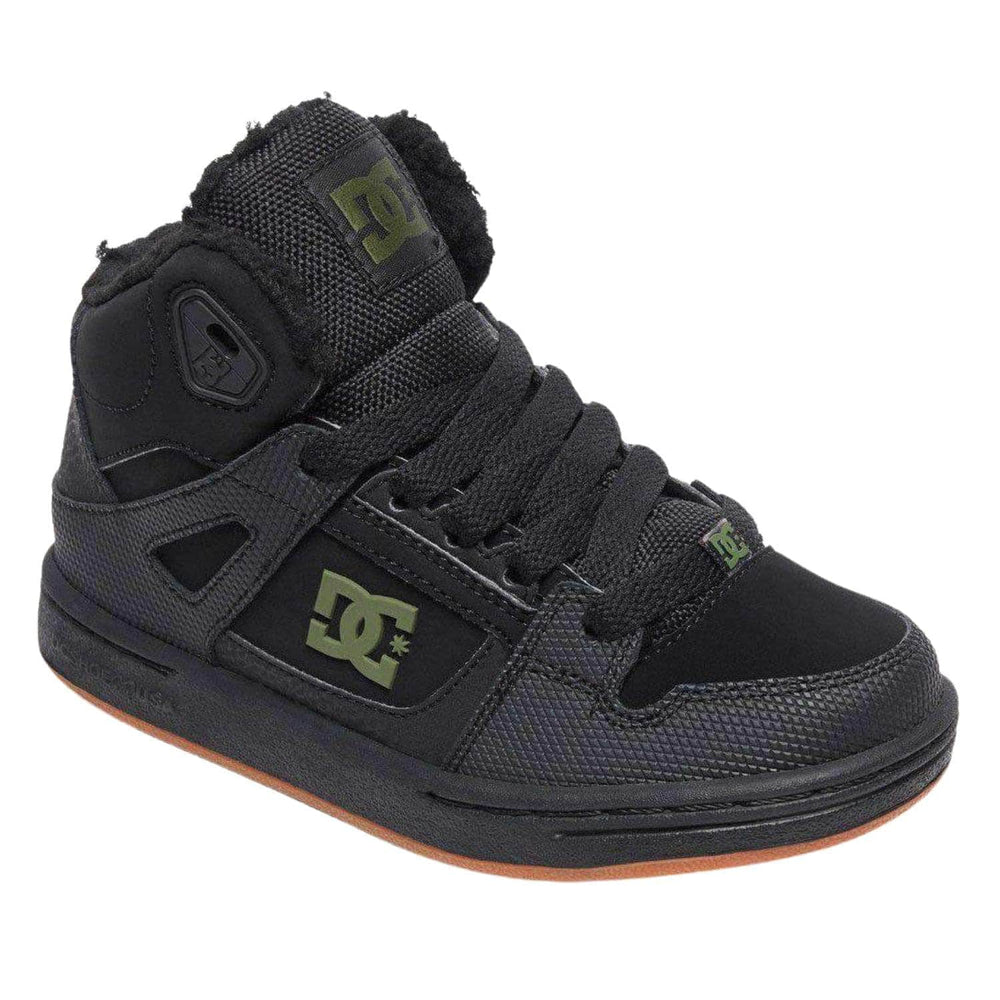 DC Boys Pure high Top Winter Lined Shoes- Black/Black/Green - Boys High Top Trainers by DC