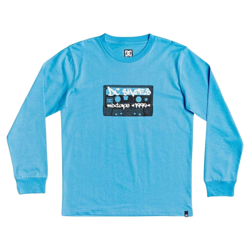 DC Boys Mixtape 94 Long Sleeve T-Shirt Bonnie Blue - Boys Skate Brand T-Shirt by DC