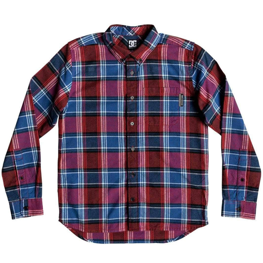 DC Boys Northboat L/S Shirt - Racing Red Boys Flannel Shirt by DC