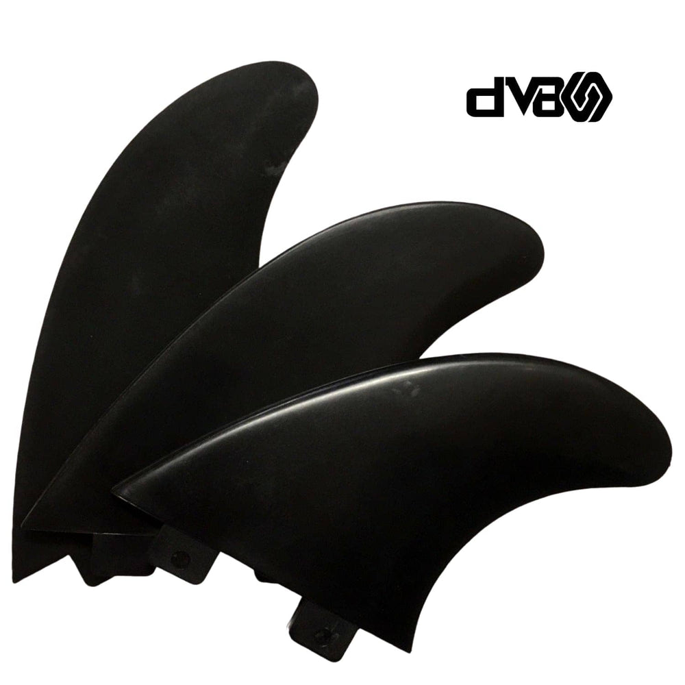 DV8 Basic Thruster Surfboard Fins Size 5 Black (FA19) - FCS Dual Tab Fins by DV8 Medium Fins