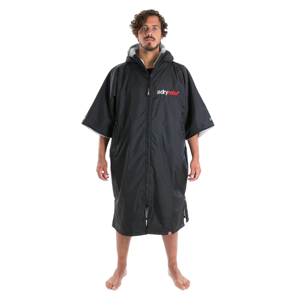 Dryrobe Advance Short Sleeve Drying & Changing Robe - Black/Grey - Changing Robe Poncho Towel by Dryrobe