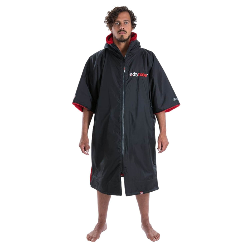 Dryrobe Advance Short Sleeve Drying & Changing Robe - Black/Red - Changing Robe Poncho Towel by Dryrobe
