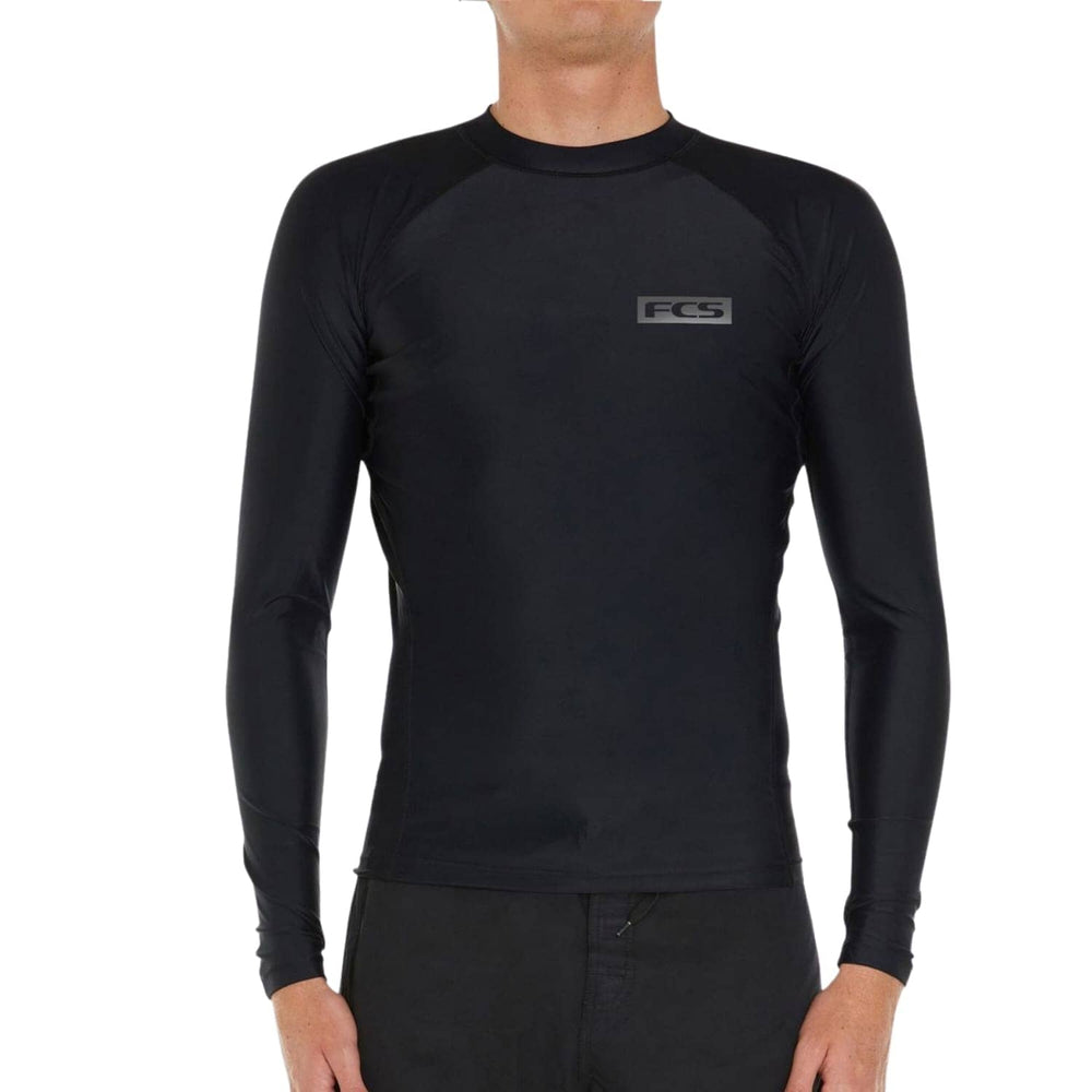 FCS Mens Essential L/S Rashvest Black - Mens Rash Vest by FCS