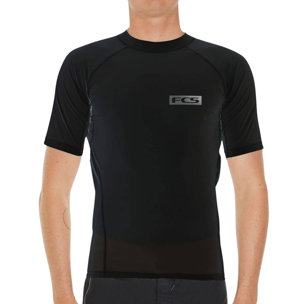 FCS Mens Essential S/S Rash Vest Black - Mens Rash Vest by FCS