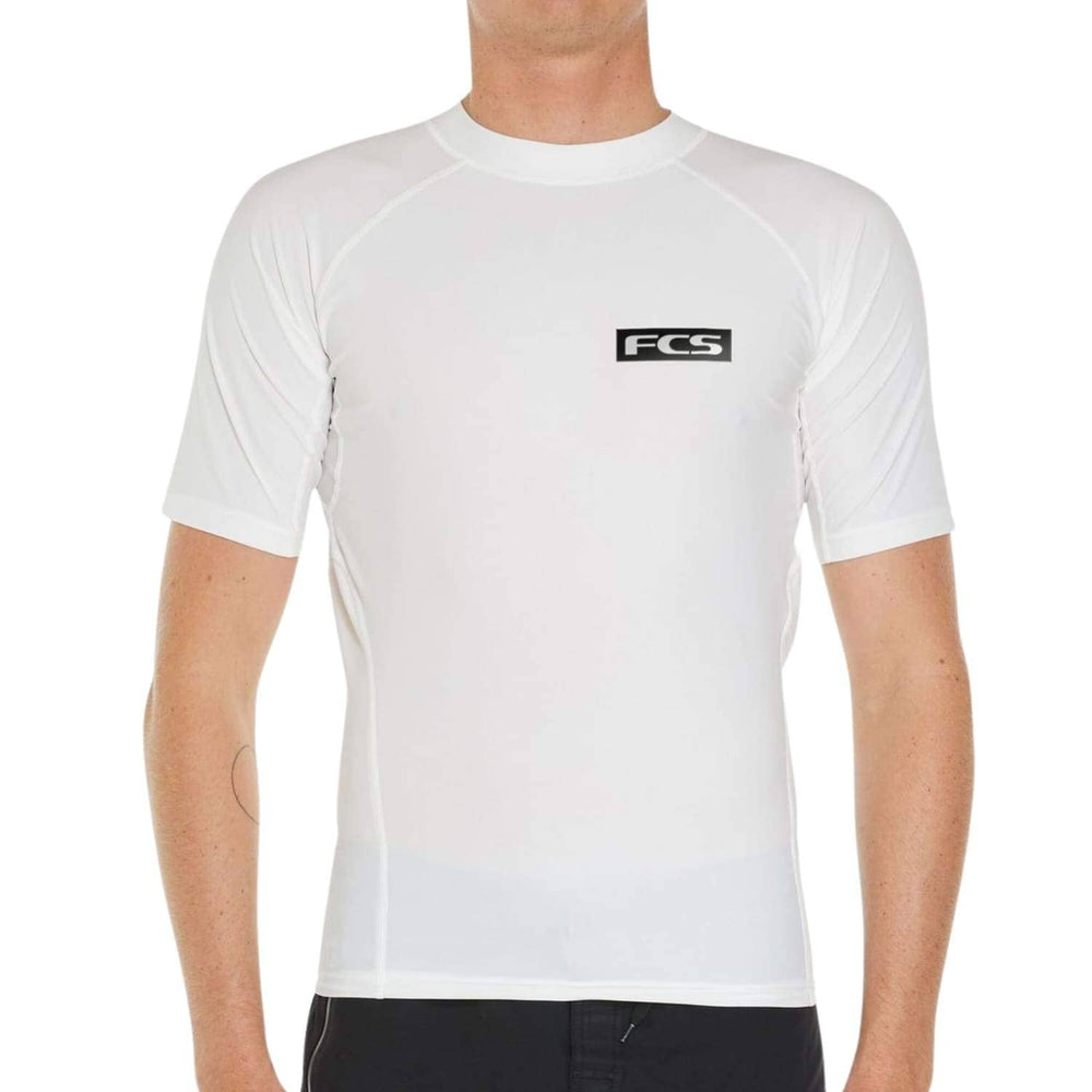 FCS Mens Essential S/S Rash Vest White - Mens Rash Vest by FCS