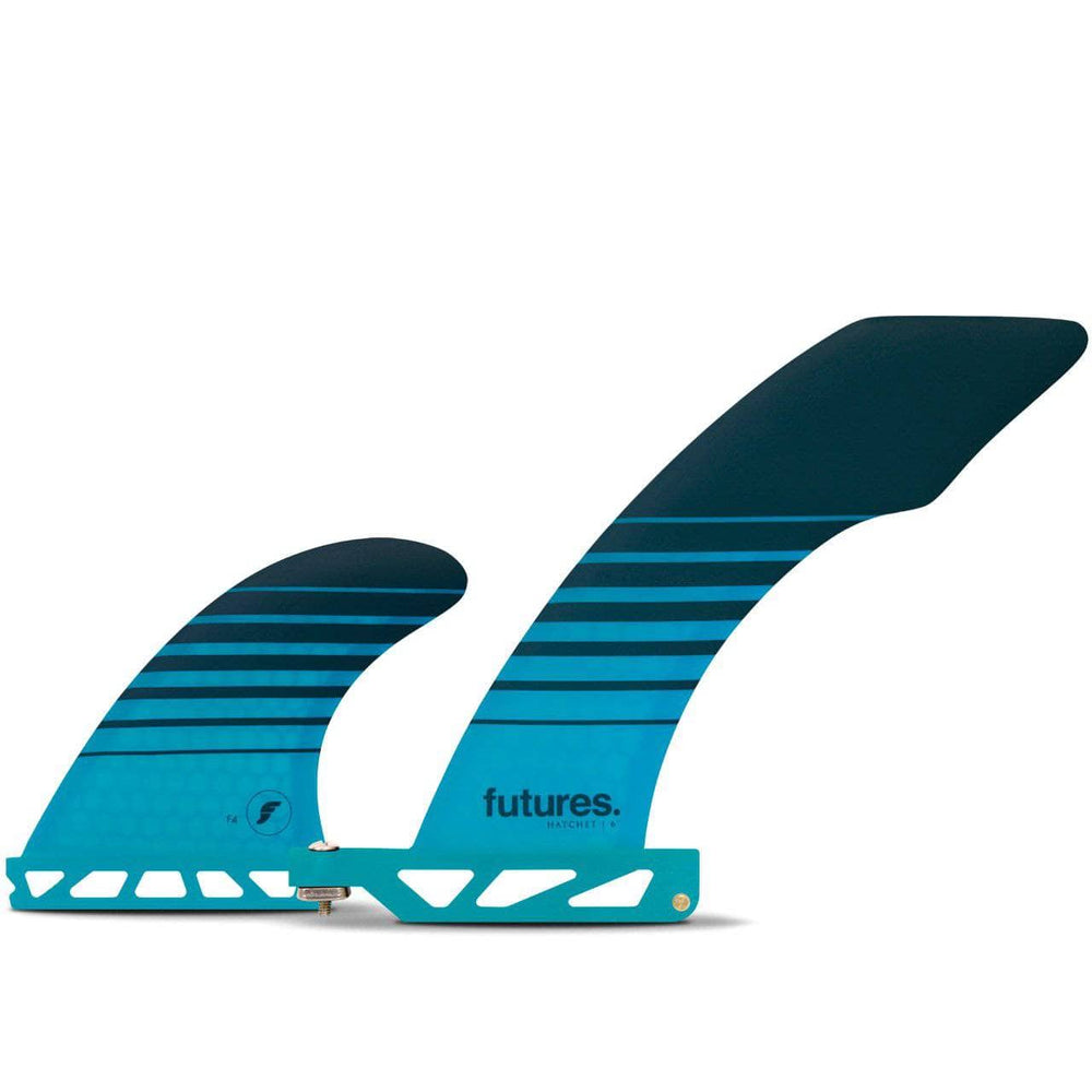 Futures Hatchet 2+1 Honeycomb Surfboard Fins - Teal Stripes Futures Single Tab Fins by Futures