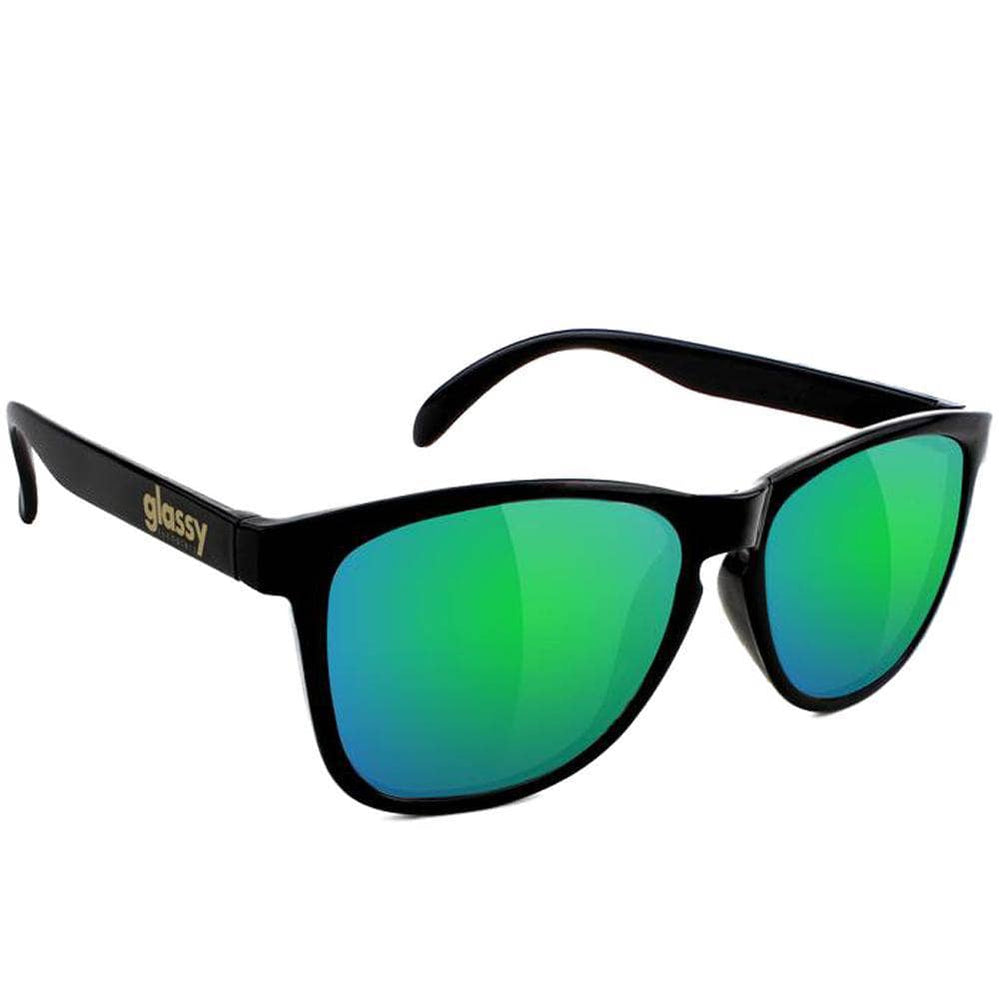 Glassy Deric Sunglasses - Matte Black/Green Mirror