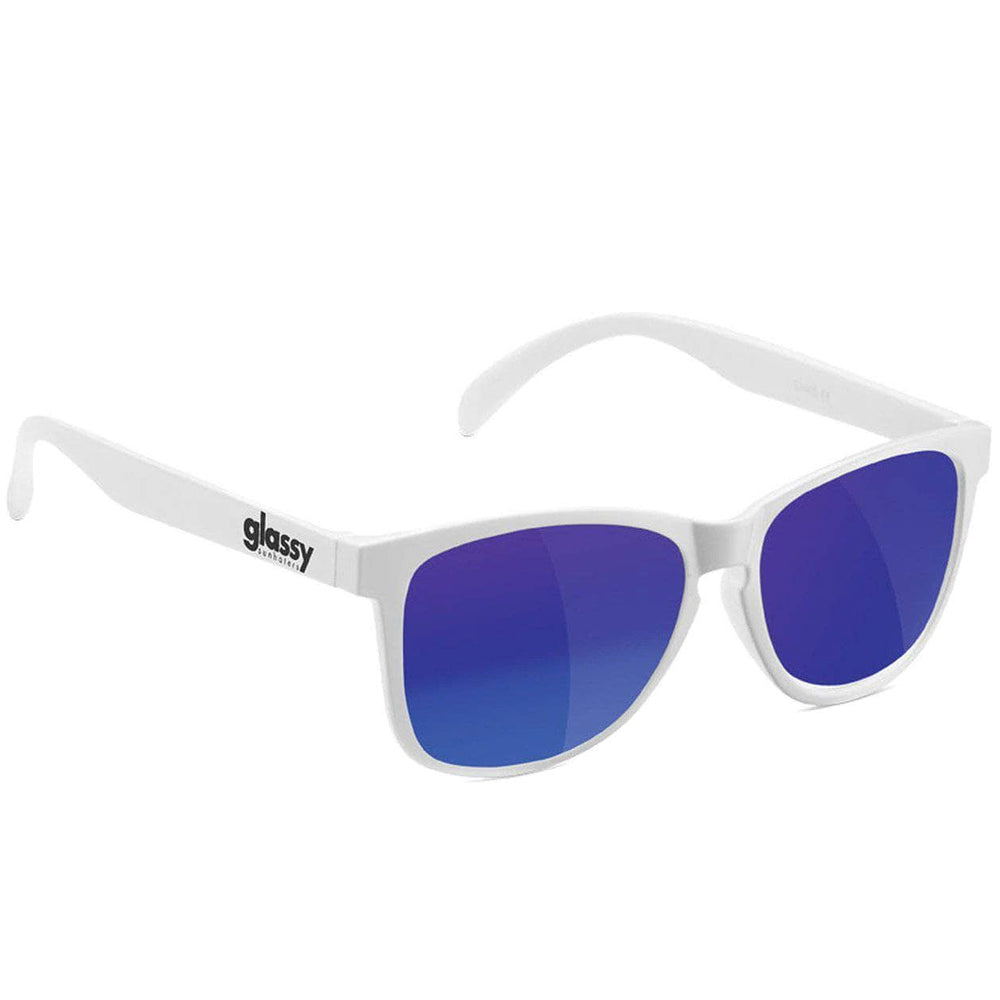 Glassy Deric Sunglasses - White/Blue Mirror