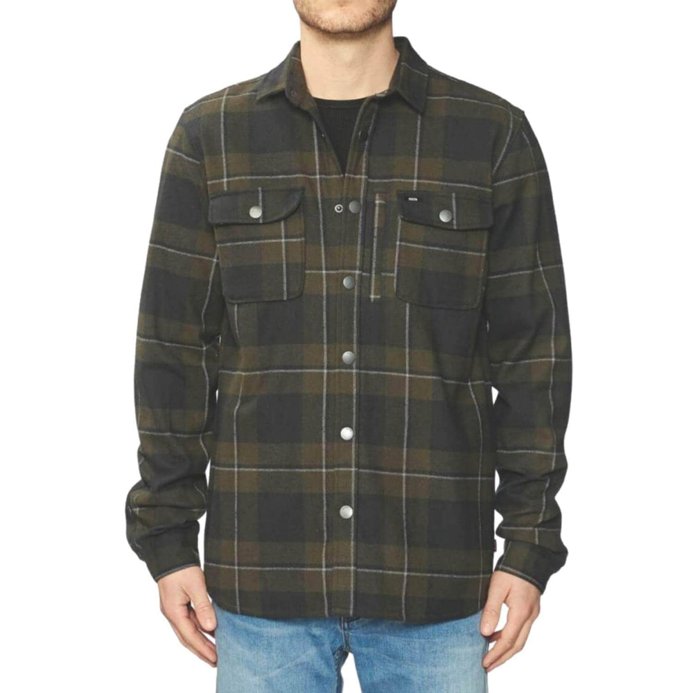 Globe Clifton Solid L/S Shirt Field Green - Mens Flannel Shirt by Globe