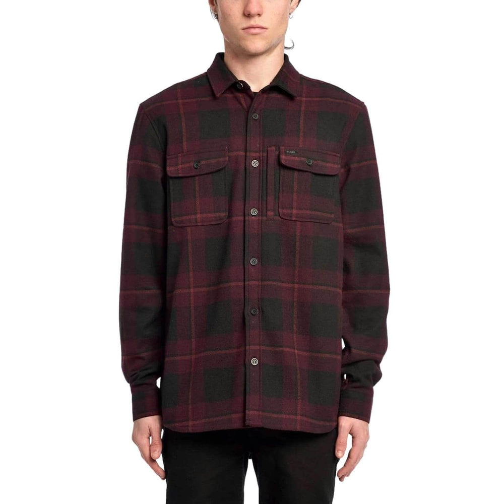 Globe Clifton L/S Shirt Wine - Mens Flannel Shirt by Globe