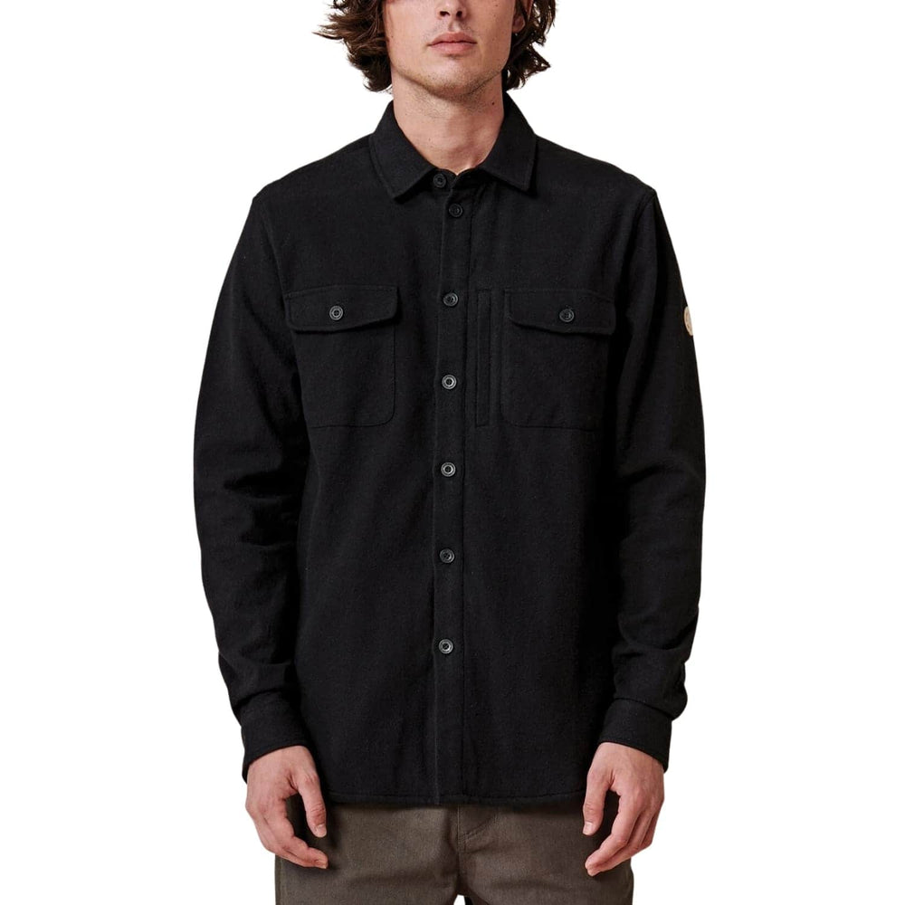 Globe Wanderer Shacket Shirt Jacket Black - Mens Casual Shirt by Globe