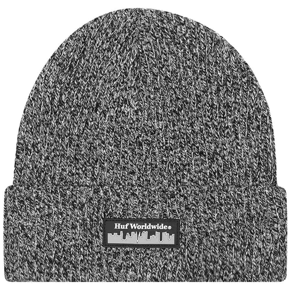 Huf Boroughs Beanie Hat Black O/S (one size) Fold Beanie Hat by Huf