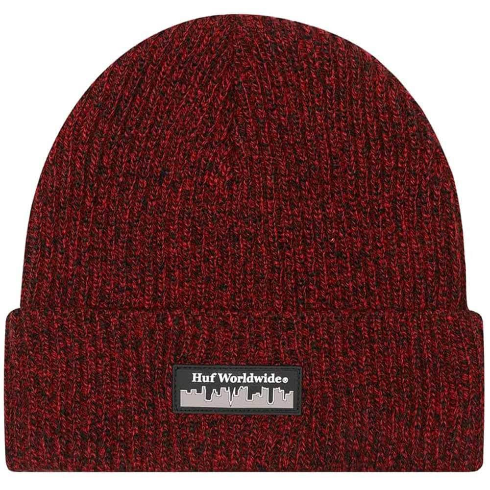 Huf Boroughs Beanie Hat Poppy O/S (one size) Fold Beanie Hat by Huf