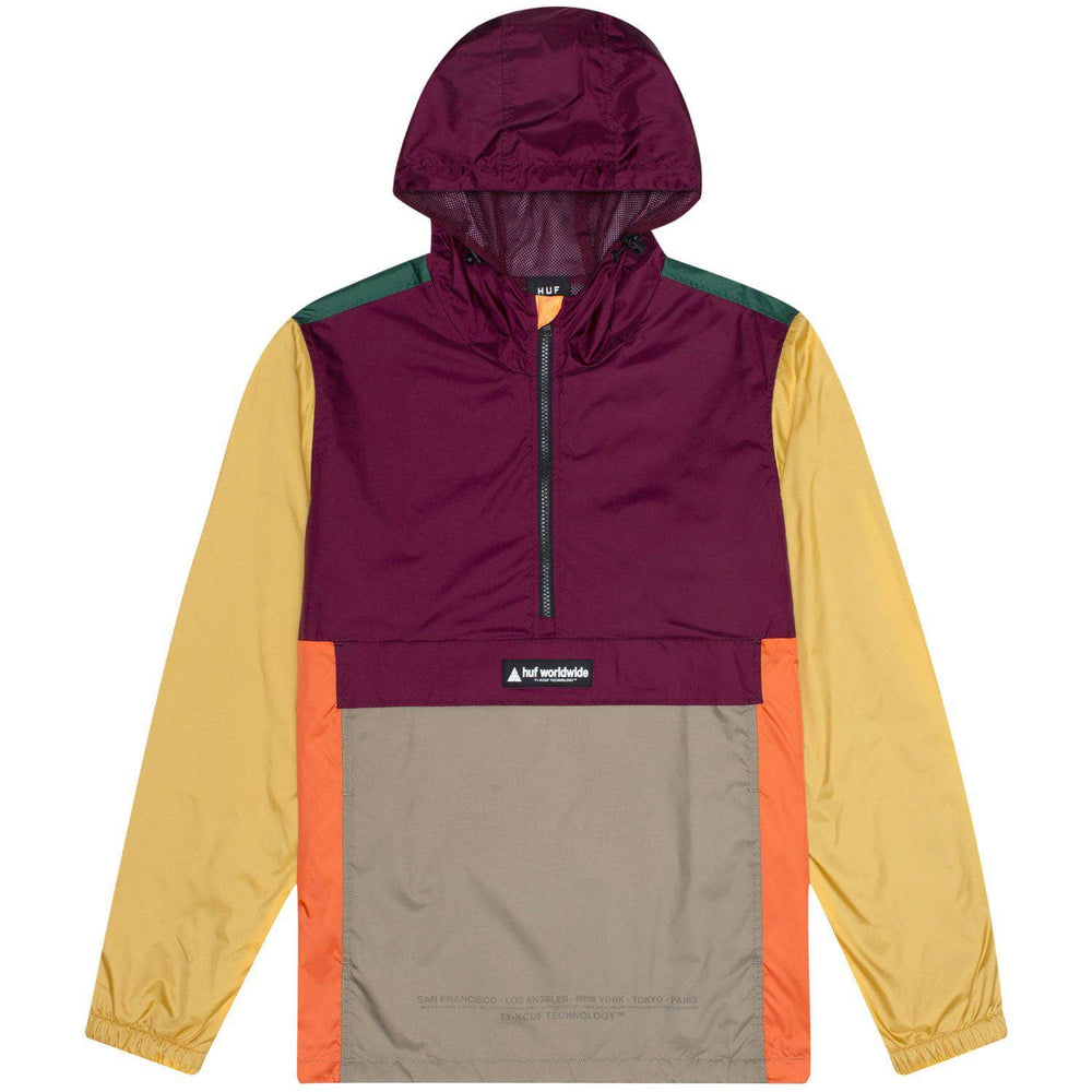 Huf Coyote Trail Anorak Jacket Raisin Mens Windbreaker/Rain Jacket by Huf