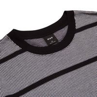 Huf Houndstooth Stripe L/S Knit Black - Mens Plain T-Shirt by Huf