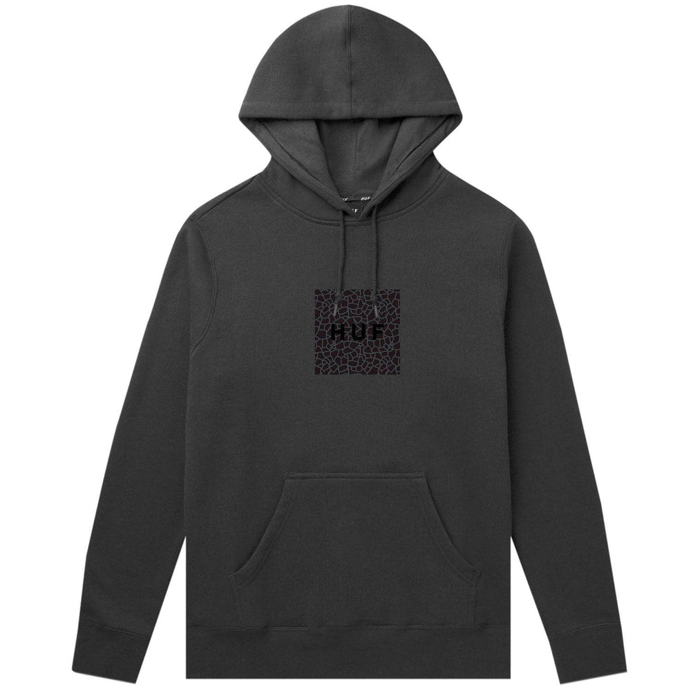 Huf Quake Box Logo Pullover Hoodie Black Mens Pullover Hoodie by Huf