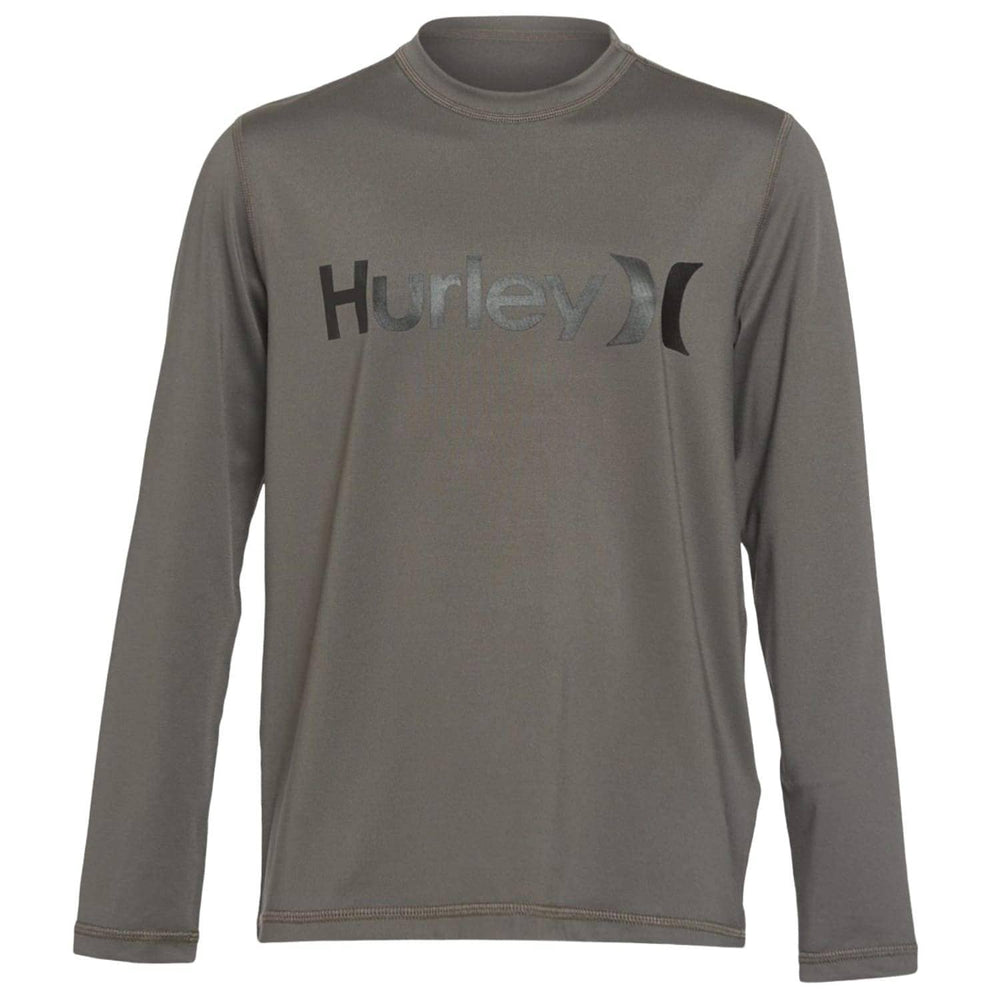 Hurley Boys One & Only L/S Rashguard Iron Grey Kids Rash Vest by Hurley