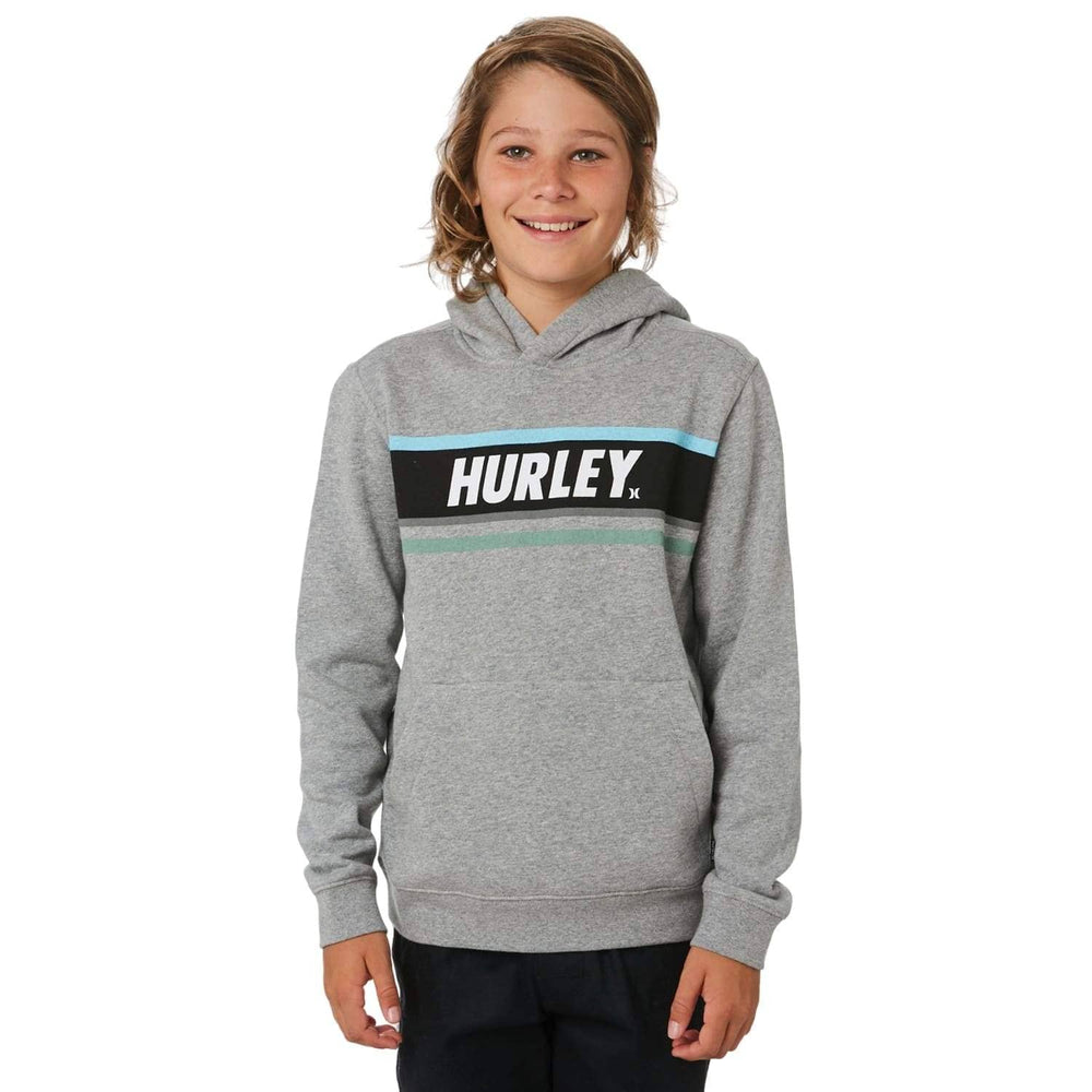 Hurley Boys Sporty Stripe Pullover Hoodie Dark Grey Heather Boys Pullover Hoodie by Hurley