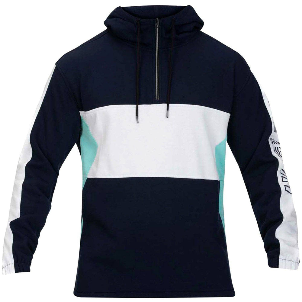 Hurley Onshore Blocked Quarter Zip Pullover - Obsidian Mens Pullover Hoodie by Hurley