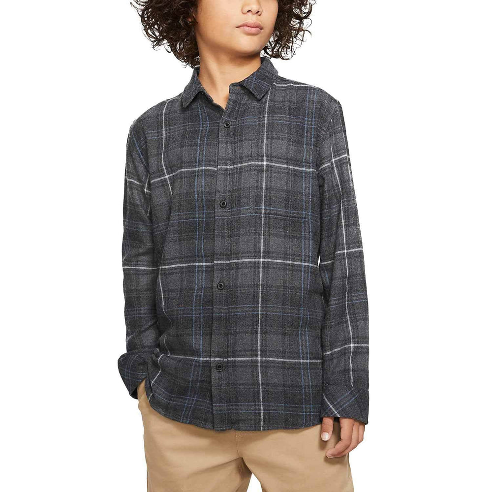 Hurley Vedder Washed L/S Shirt - Anthracite Boys Flannel Shirt by Hurley