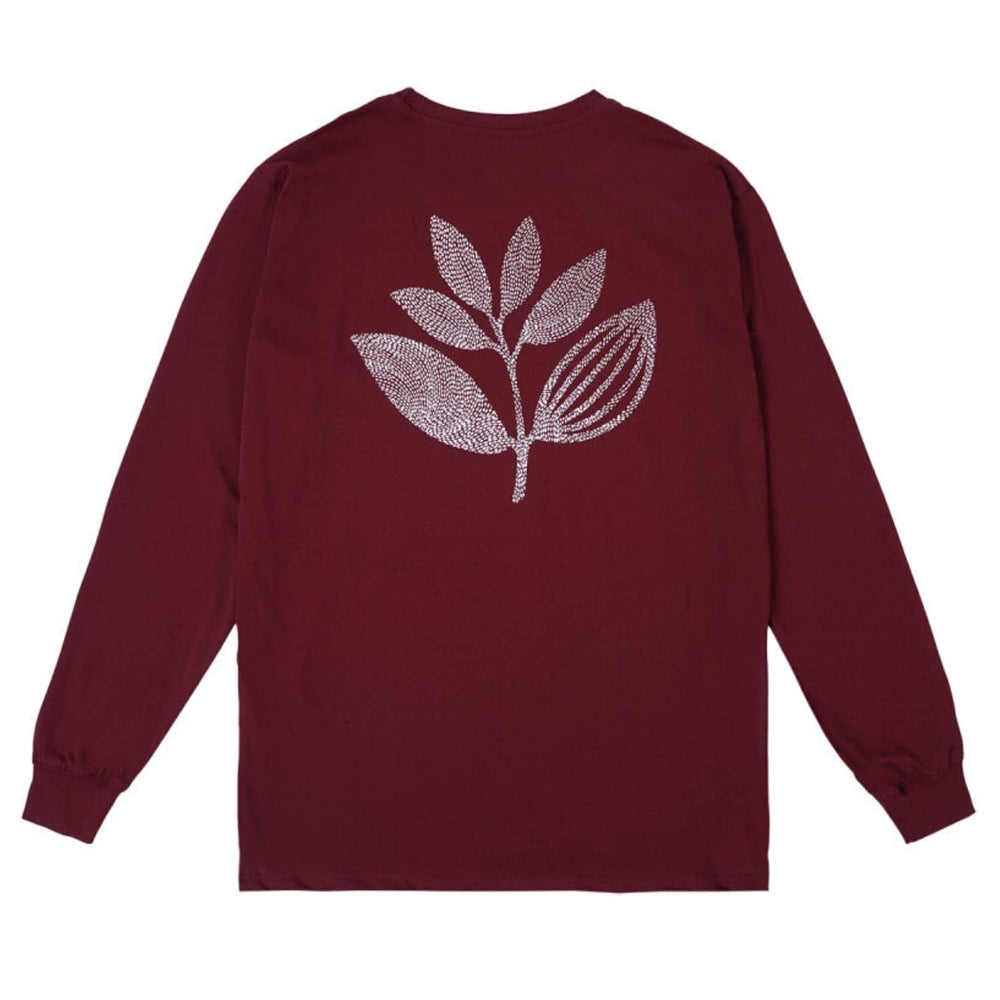 Magenta Points Plant L/S T-Shirt Wine - Mens Skate Brand T-Shirt by Magenta