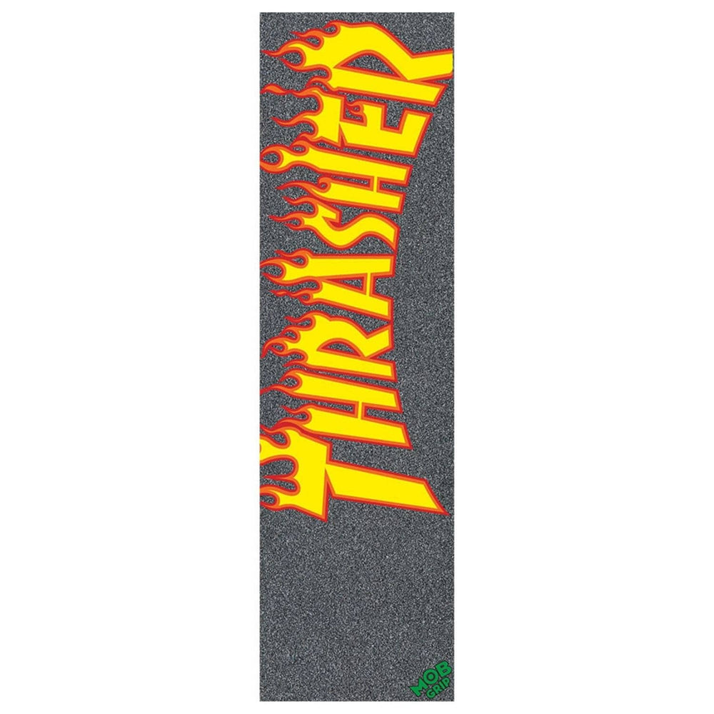 Mob Grip Thrasher Yellow and Orange Flames Griptape Black 9in - Skateboard Grip Tape by Mob Grip