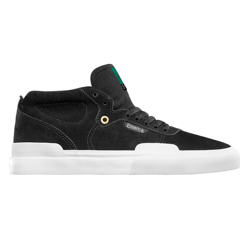 Emerica Pillar Mid Top Skate Shoe Black White Gold