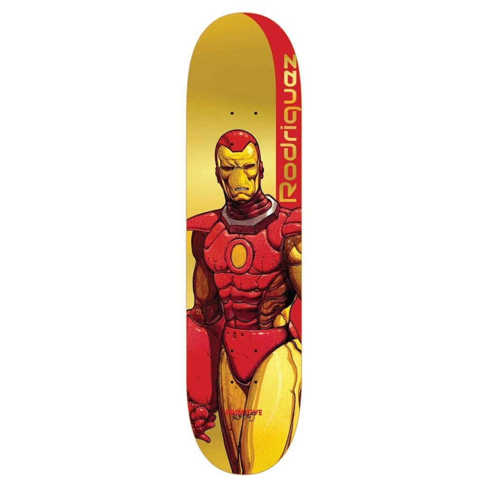 Primitive Rodriguez Iron Man Skate Deck Gold 8.125in - Skateboard Deck by Primitive