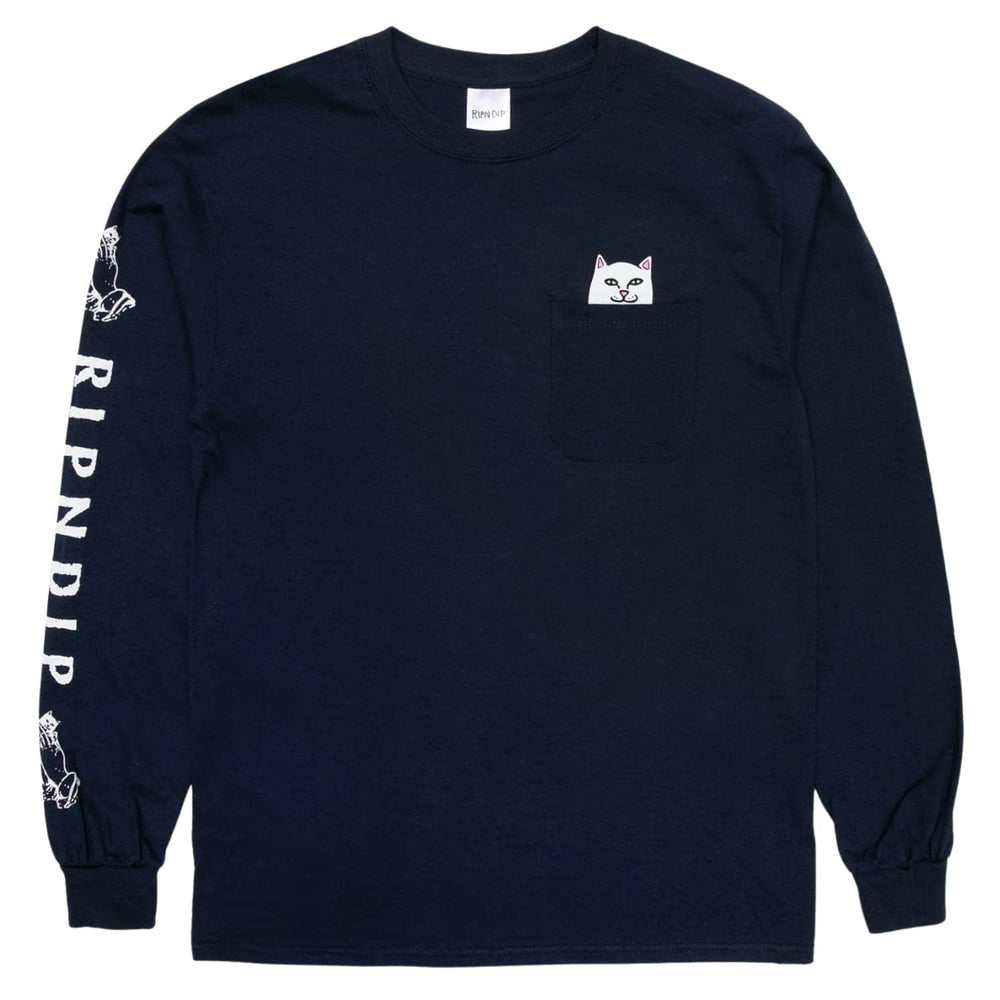 RIPNDIP Lord Nermal Pocket L/S T-Shirt Navy - Mens Pocket T-Shirt by RIPNDIP