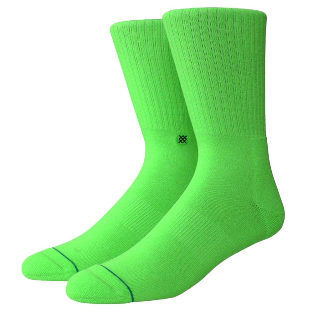 Stance Icon Socks Neon Green - Mens Crew Length Socks by Stance