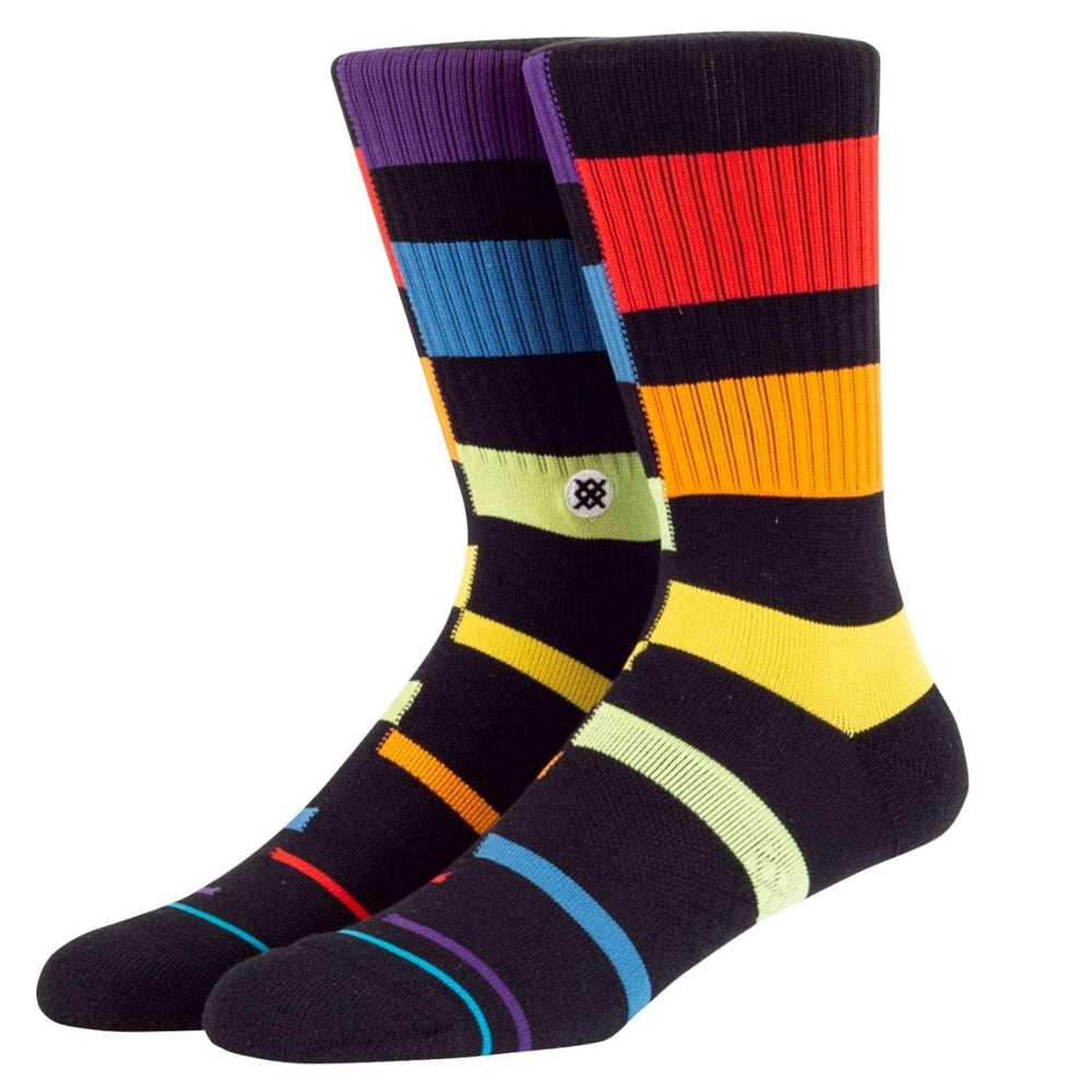 Stance Rainbow Stripe Socks Black - Mens Crew Length Socks by Stance L (UK8-12)