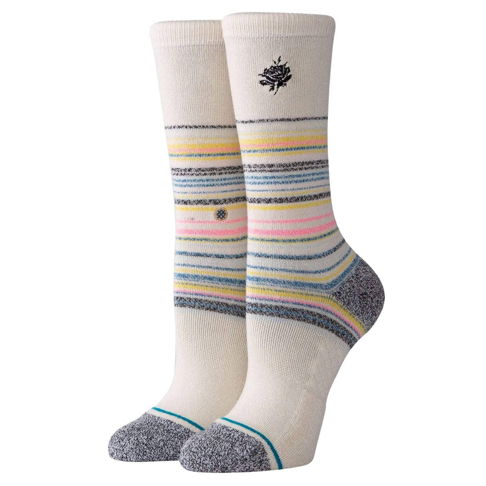 Stance Womens Shannon Crew Socks Cream Womens Crew Length Socks by Stance
