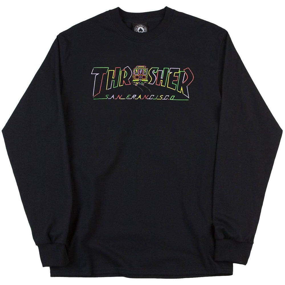 Thrasher Cable Car Longsleeve L/S T-Shirt - Black