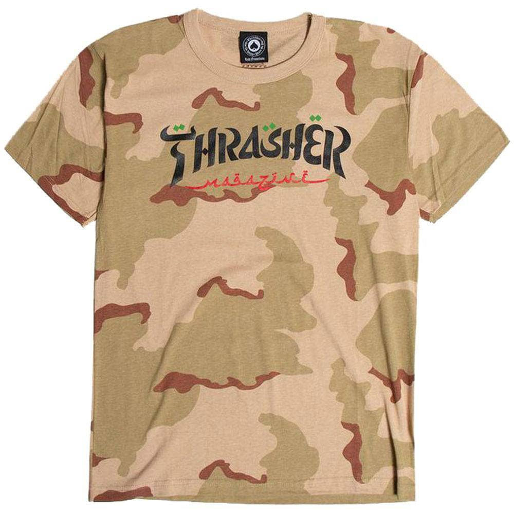 Thrasher Calligraphy T-Shirt Desert - Camo Mens Graphic T-Shirt by Thrasher