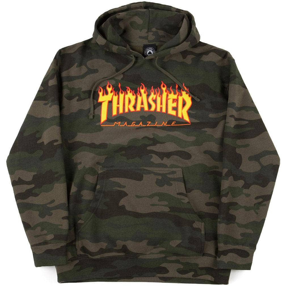 Thrasher Flame Hoodie - Camo Mens Pullover Hoodie by Thrasher