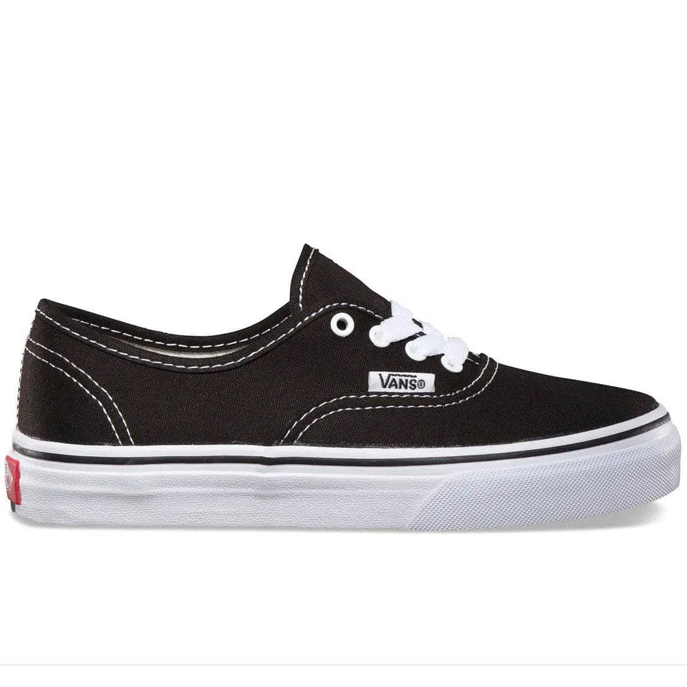 Vans Kids Authentic Skate Shoes Black True White Boys Skate Shoes by Vans
