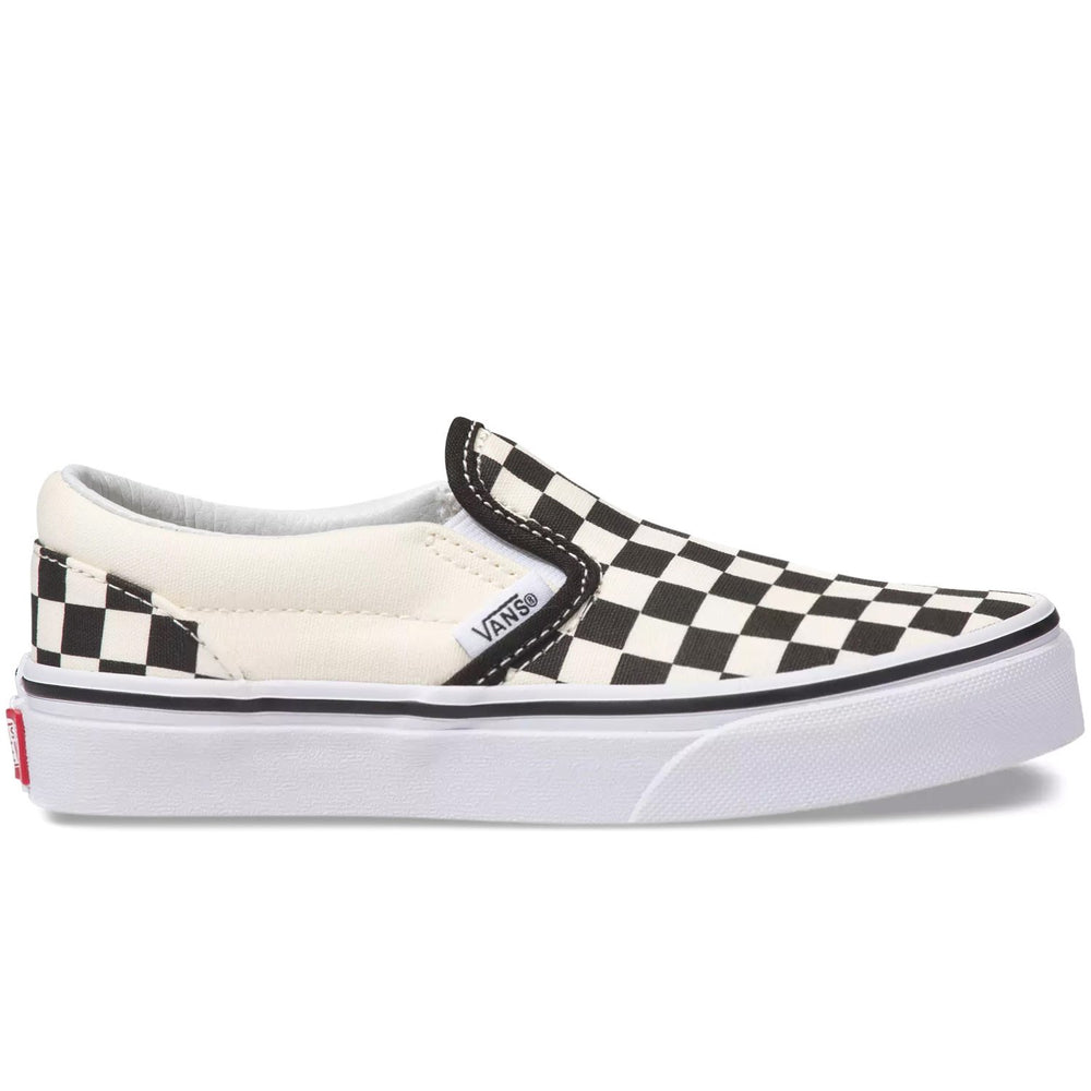 Vans Kids Classic Slip-On Skate Shoes (Checkerboard) - Blk/White