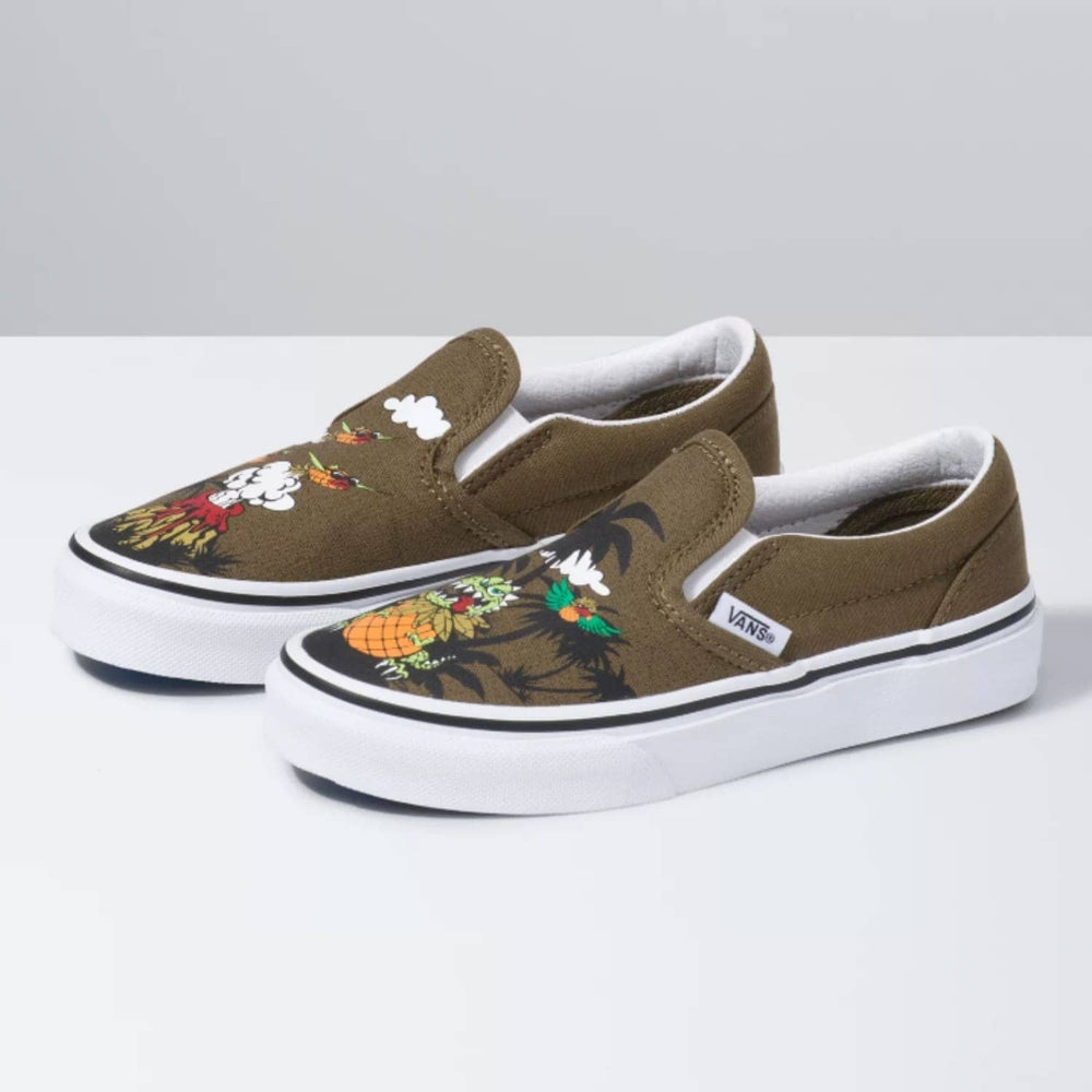 Vans Kids Classic Slip-On Shoes Dineapple Floral - Military Olive/True White - Boys Skate Shoes by Vans