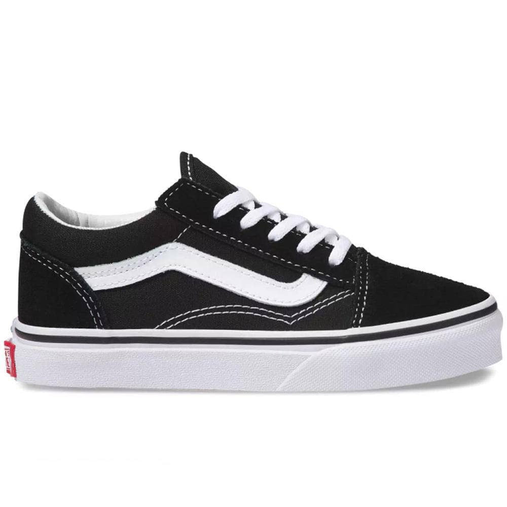 Vans Kids Old Skool Skate Shoes - Black/True White Boys Skate Shoes by Vans