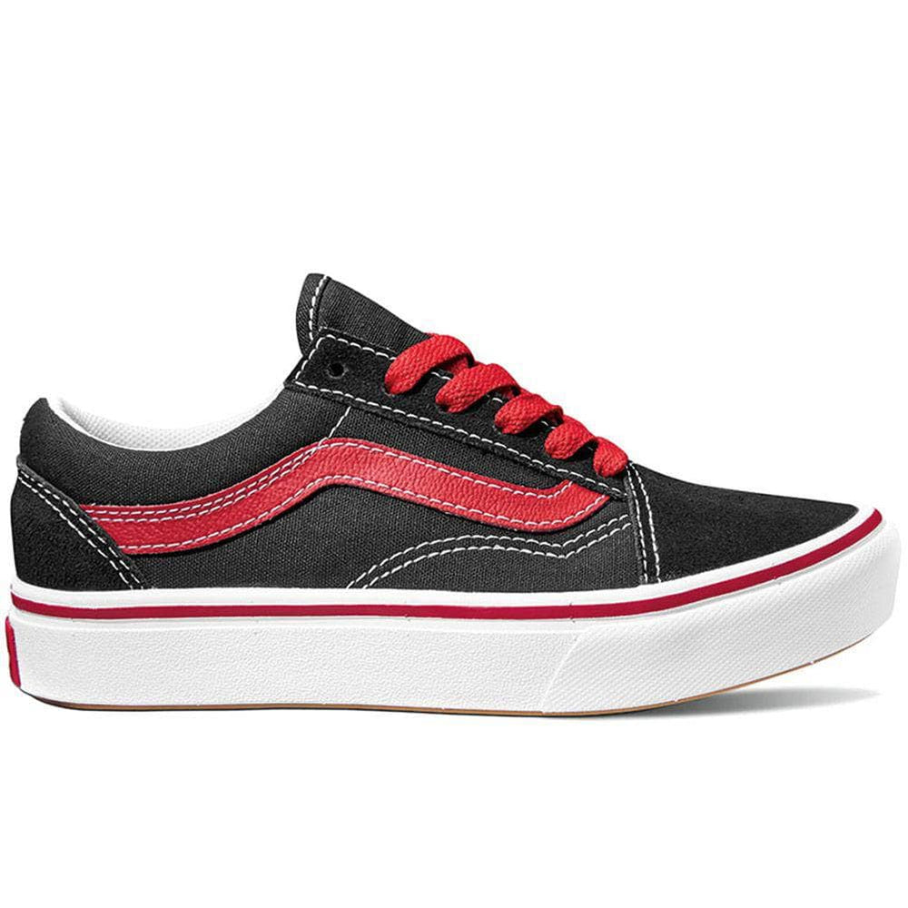 Vans Kids Pop Comfycush Old Skool Skate Shoes Black/Red Boys Skate Shoes by Vans