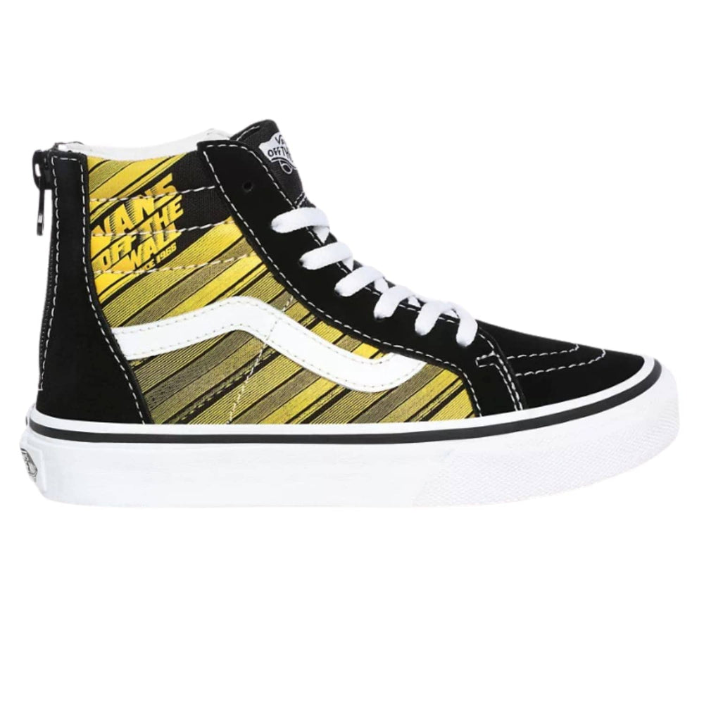 Vans Kids Sk8-Hi Zip Racers Edge Shoes Black/Yellow Chrome - Boys Skate Shoes by Vans