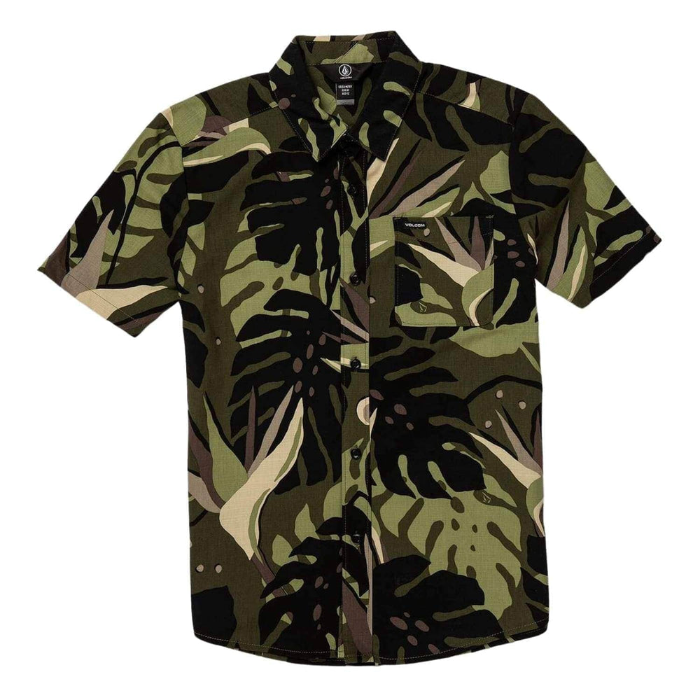 Volcom Boys Mentawais S/S Shirt Military - Boys Casual Shirt by Volcom